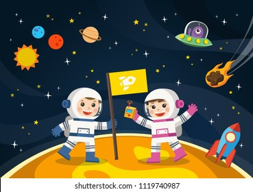 Space scenes. Astronaut  on the planet with a alien spaceship.