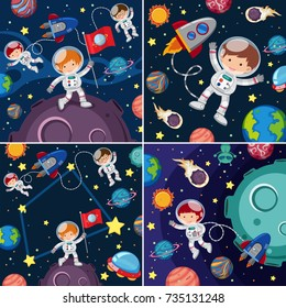 Space scenes with astronauts and planets illustration