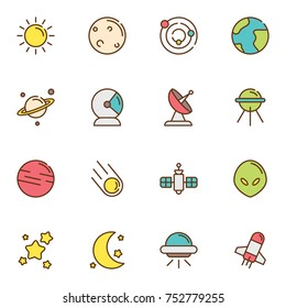 Space Science & Astrology Solid Vector Icons