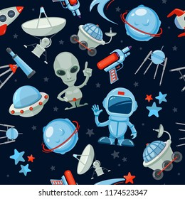 Space seamless background. Astronaut alien UFO ship and rocket different stars and satellites futuristic vector dark pattern
