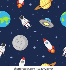 Space seamless background with astronaut, planet, rocket, moon and ufo. Cosmic pattern in flat style. Vector illustration.