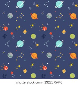 Space, seamless pattern