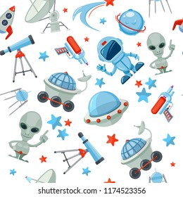 Space seamless pattern. Astronaut alien UFO ship and rocket different stars and satellites futuristic vector white background