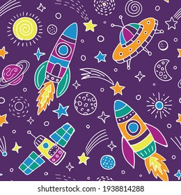 Space seamless pattern for children wear. Purple backgroynd with colorful cosmic elements. Vector illustration.