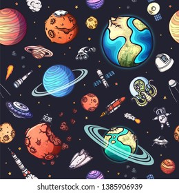 Space seamless pattern with many hand-drawn doodles. Colorful vector illustration.