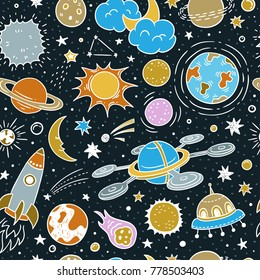 Space seamless vector pattern. Astronomy background with night stars, spaceships and planets