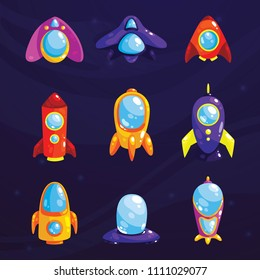 Space set. Fantasy cosmic items for mobile game or web design. Vector GUI elements for game design.