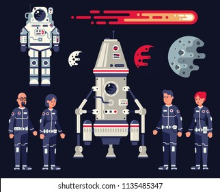 Space set in the flat style - landing module, spaceship, spacesuit, crew of astronauts of men and women, planets and comets.