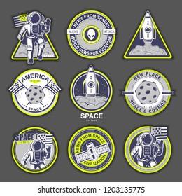 Space set logo design elements. Beautiful illustration for sign, design brochure, invitation. Cosmos