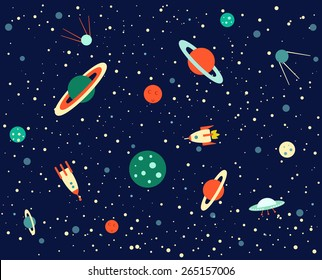 Space set of planets, orbits, rockets, satellite, flying saucer, stars. Cosmos. Vector illustration. Cartoon icons.