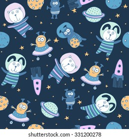 Space set of planets, orbits, rockets, satellite, stars, ufo, astronaut, apollo, comet, meteorite. Cosmos. Vector illustration. Cartoon icons. Cute animal and alien