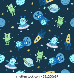 Space set of planets, orbits, rockets, satellite, stars, ufo, astronaut, apollo, comet, meteorite. Cosmos. Vector illustration. Cartoon icons. Cute alien