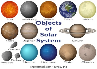 Space Set Planets Solar System, Sun, Earth, Moon, Venus, Mercury, Mars, Pluto, Charon, Phobos, Deimos, Gaspra, Neptune, Jupiter, Saturn and Uranus. Elements Furnished by NASA. Vector