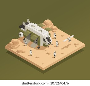 Space ship isometric composition with isometric images of astronauts and drones on planetary surface with shadows vector illustration