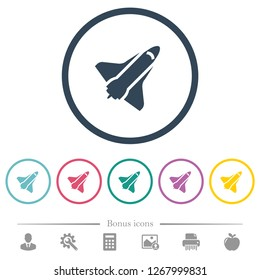 Space shuttle flat color icons in round outlines. 6 bonus icons included.