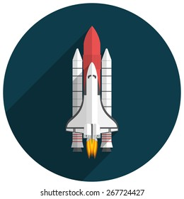 Space Shuttle, Flat design, vector illustration, long shadow