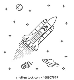 Space shuttle flight vector illustration.