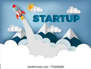 space shuttle launch to the sky, start up business concept , vec
