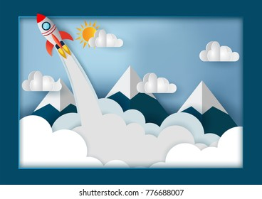 space shuttle launch to the sky, start up business concept and exploration idea, vector art and illustration paper