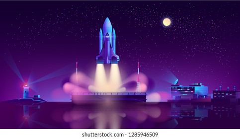 Space shuttle with launch vehicle taking off in starry sky from floating platform in lights of lighthouse on seashore neon color cartoon vector illustration. Commercial cargo carrier spaceship start