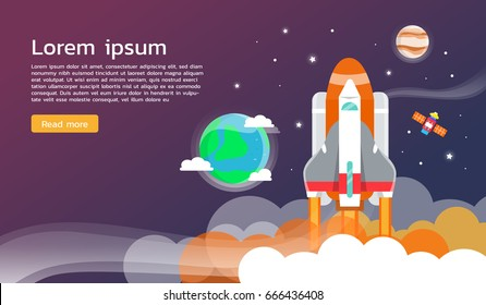 Space shuttle and planet in space infographic flat design