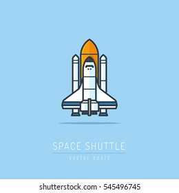 Space shuttle and rockets vector illustration in flat linework style