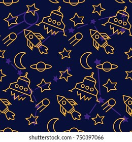 Space, shuttle, star, planet, meteorite, moon, unidentified flying object, pattern. Background texture