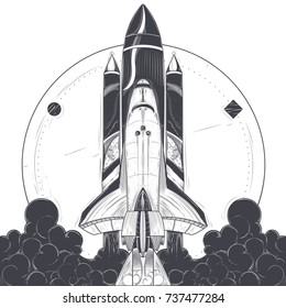Space shuttle take-off with fire and smoke exhaust from engines engraved vector illustration on white background. Modern spacecraft launch, reusable spaceship with carrier rocket start print or tattoo