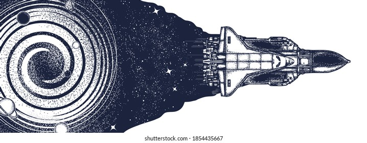Space shuttle in universe. Symbol of flight to new galaxies. Black and white surreal graphic
