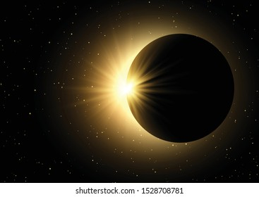 Space sky background with a solar eclipse design