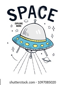 Space slogan graphic, with space theme vector illustrations. For t-shirt print and other uses.