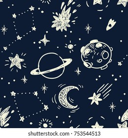 Space stars background, night sky and stars seamless vector pattern. Stars on the night sky. Vector illustration.