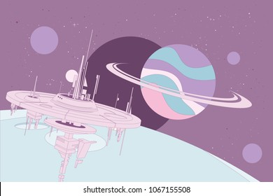 Space station in front orbiting around the moon of a large gas planet with other planets and distant stars on purple background