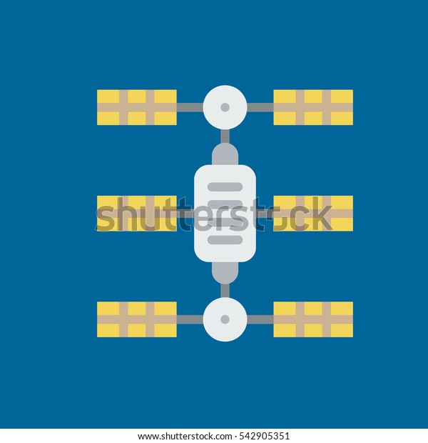 space station icon flat disign