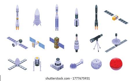 Symbole der Raumstation werden gesetzt. Isometrischer Satz von Vektorsymbole für Raumstation für Webdesign einzeln auf weißem Hintergrund