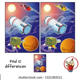 Space station orbiting the planet and spaceships. Find 10 differences. Educational matching game for children. Cartoon vector illustration