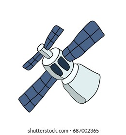 Space station. Vector illustration, isolated on white background