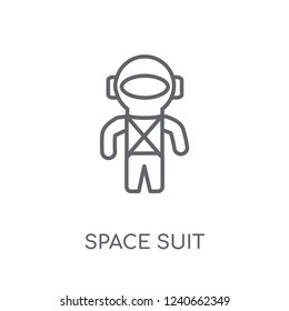 Space suit linear icon. Modern outline Space suit logo concept on white background from ASTRONOMY collection. Suitable for use on web apps, mobile apps and print media.