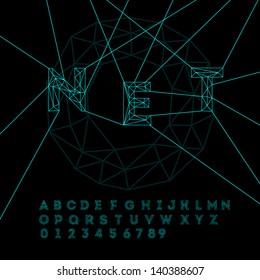 Space technology alphabet, vector illustration.