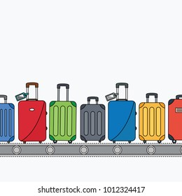 space for text & different simple clean colorful luggage bag flat design style. suitcase on conveyor belt. Baggage claim at airport vector travel bags on background. vacation cartoon isolated