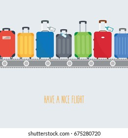 space & text - have a nice flight. different colorful luggage bag. suitcase on conveyor belt. Baggage claim at airport vector travel bags on background flat design