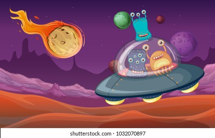 Space theme with aliens in UFO landing on planet illustration