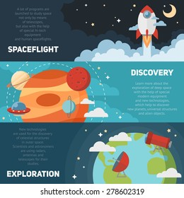 Space theme banners and cards with flat astronomic symbols of planets, rocket, stars, telescope for design, invitations and advertisement