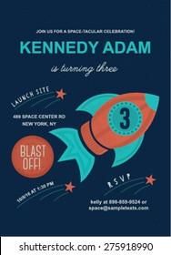 Space theme birthday invitation card template