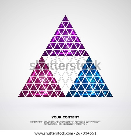 space theme construction triangles template your stock vector