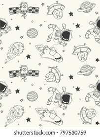 Space theme doodle pattern