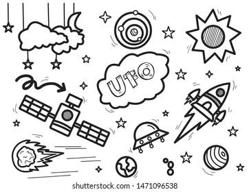 space theme doodle set vector illustration