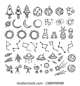 Space theme hand drawn doodle set. Cute childish elements for prints patterns kids clothes design. Rockets, planets asteroids ufo aliens. Vector illustration.