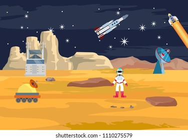 Space theme vector concept illustration, robots and astronouts, on allien planet, cosmic station,  stars, comets, flat vector