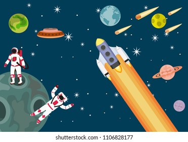 Space theme vector illustration cartoon cute astronout characters.